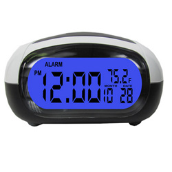 Talking Alarm Clock LCD Date Temp Travel Digital Backlight Tells Time Temp Black