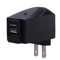 Black Dual USB Wall Charger Power Adapter iPhone iPod