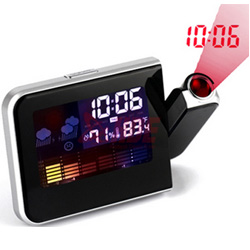 Digital LED Display Weather Station Projection Alarm Clock temperature humidity