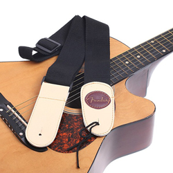 Black Cotton with Leather Guitar Strap for Fender Guitar I43