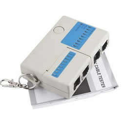 Multifunctional RJ45 RJ11 BNC Mini Cat5   Network LAN Cable Tester Test keychain
