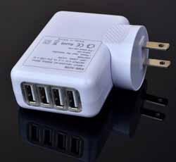 4-Port USB to AC Wall Charger Adapter Plug