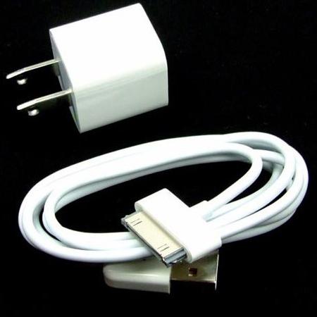 iPhone4(iPod)の電源アダプタ充電器&USBデータ転送ケーブル